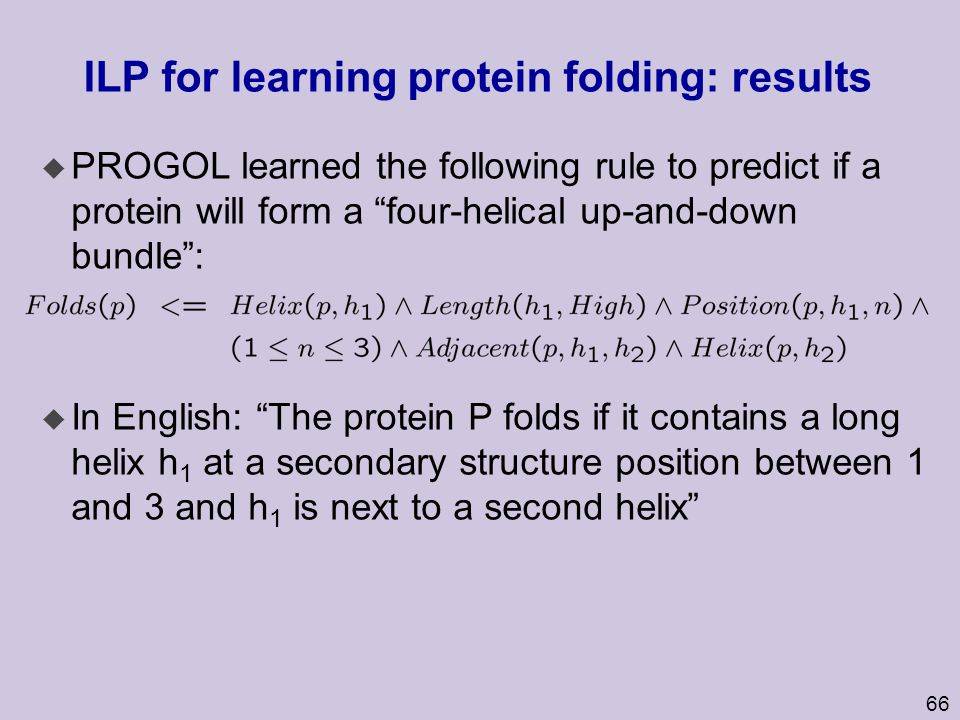 ILP for learning protein folding: results