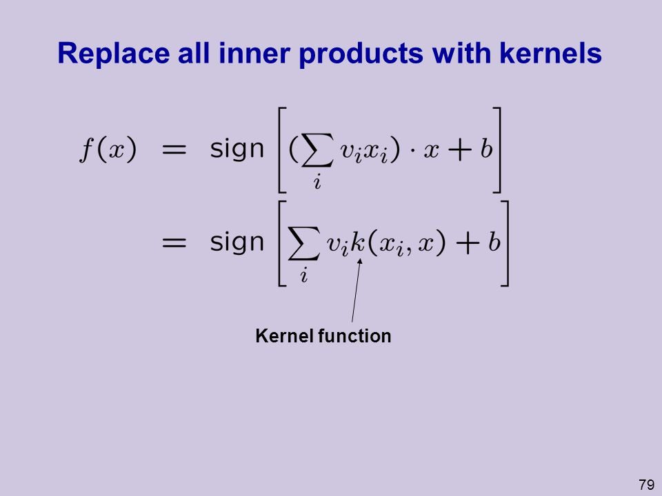 Replace all inner products with kernels