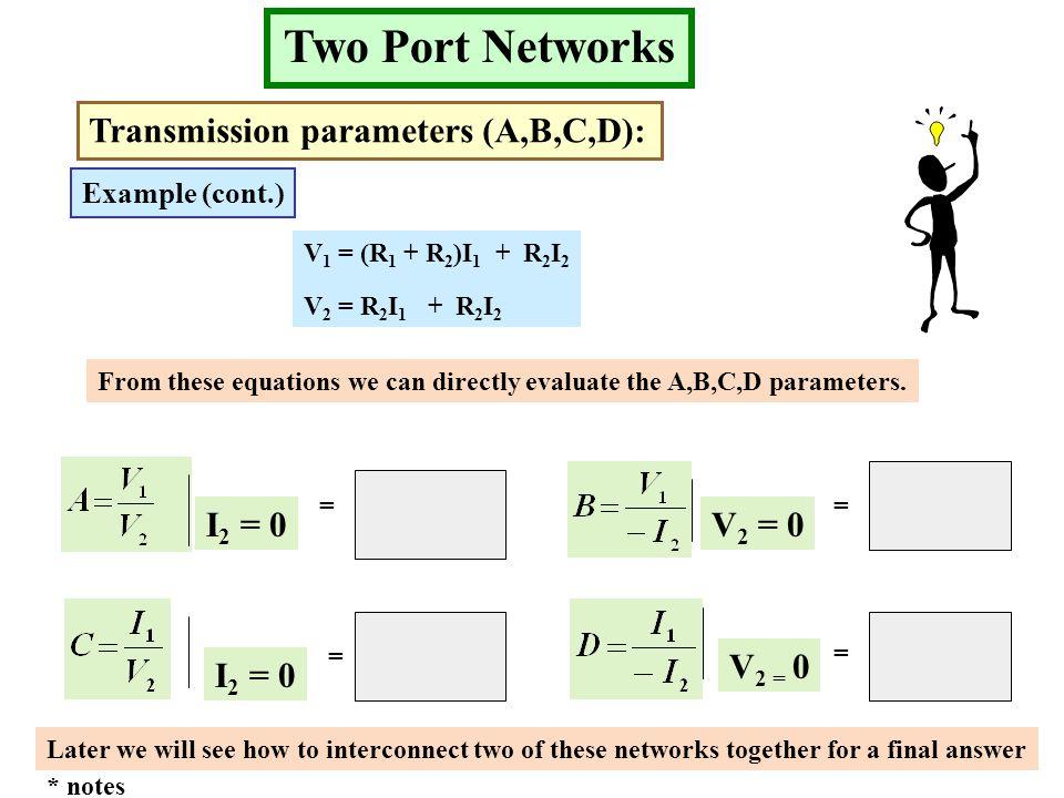 Two Port Networks Transmission parameters (A,B,C,D): I2 = 0 V2 = 0