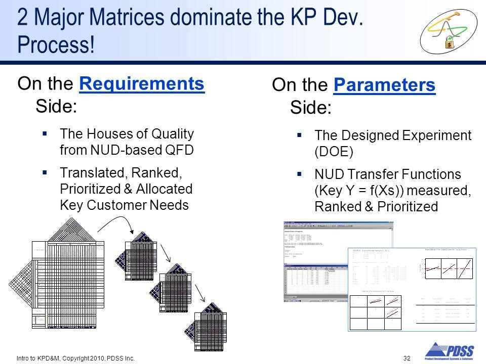 2 Major Matrices dominate the KP Dev. Process!