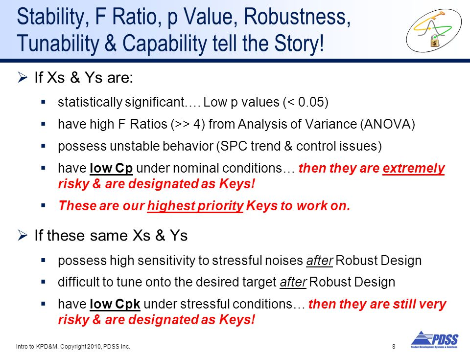 Stability, F Ratio, p Value, Robustness, Tunability & Capability tell the Story!