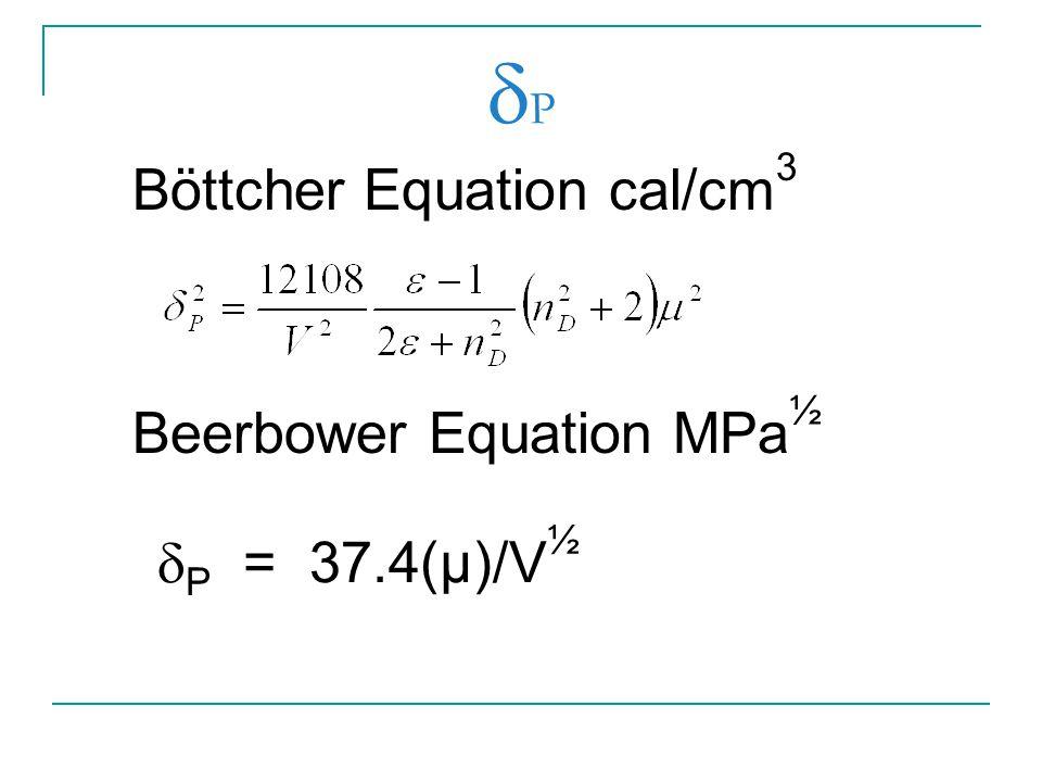 P Böttcher Equation cal/cm3 Beerbower Equation MPa½ P = 37.4(µ)/V½