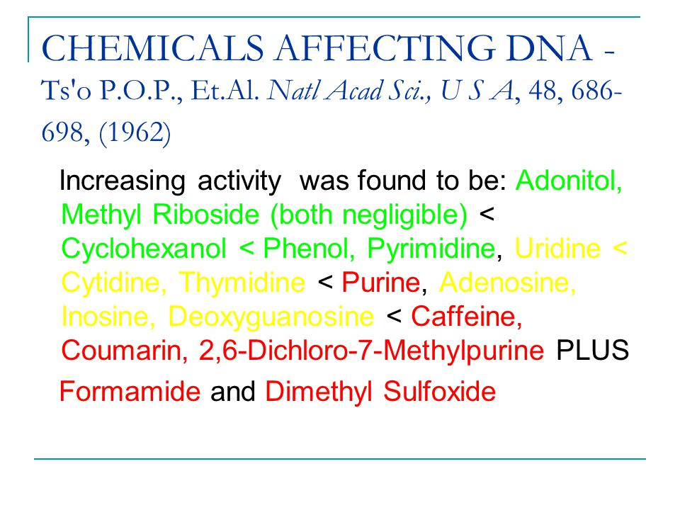 CHEMICALS AFFECTING DNA - Ts o P. O. P. , Et. Al. Natl Acad Sci