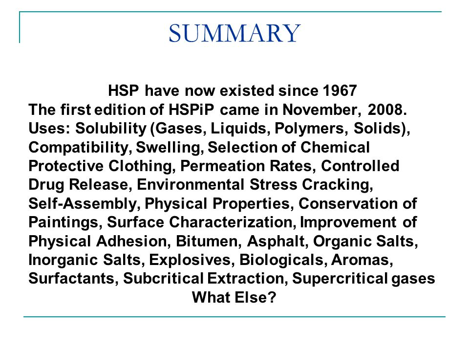 SUMMARY The first edition of HSPiP came in November, 2008.