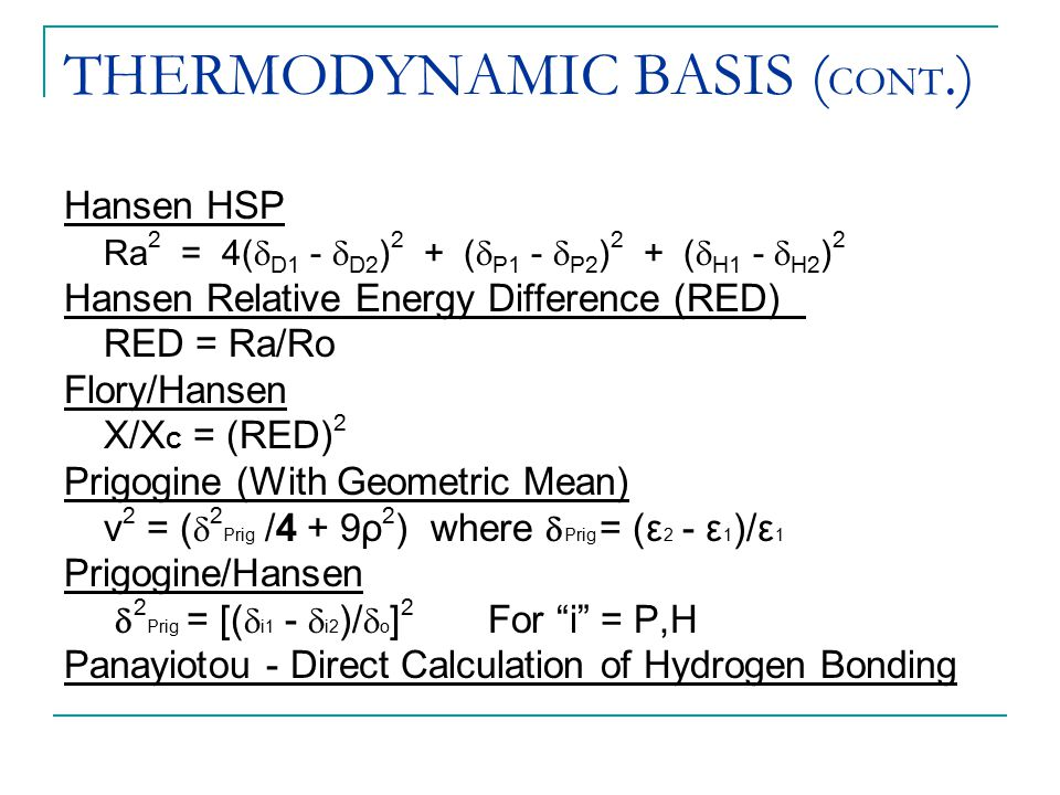 THERMODYNAMIC BASIS (CONT.)