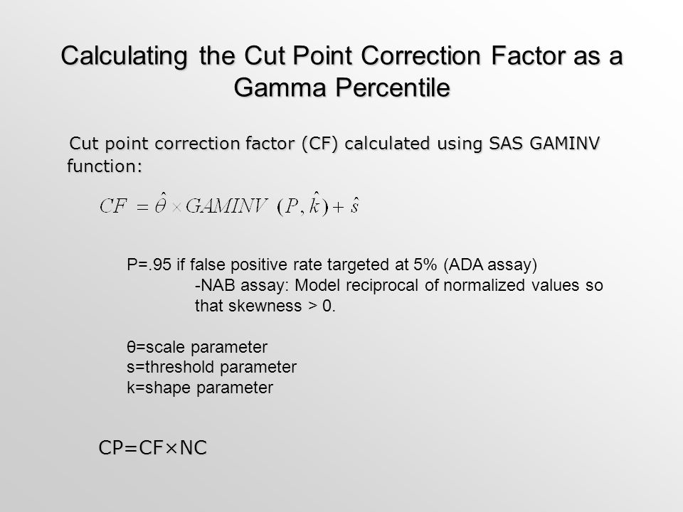 Calculating the Cut Point Correction Factor as a Gamma Percentile