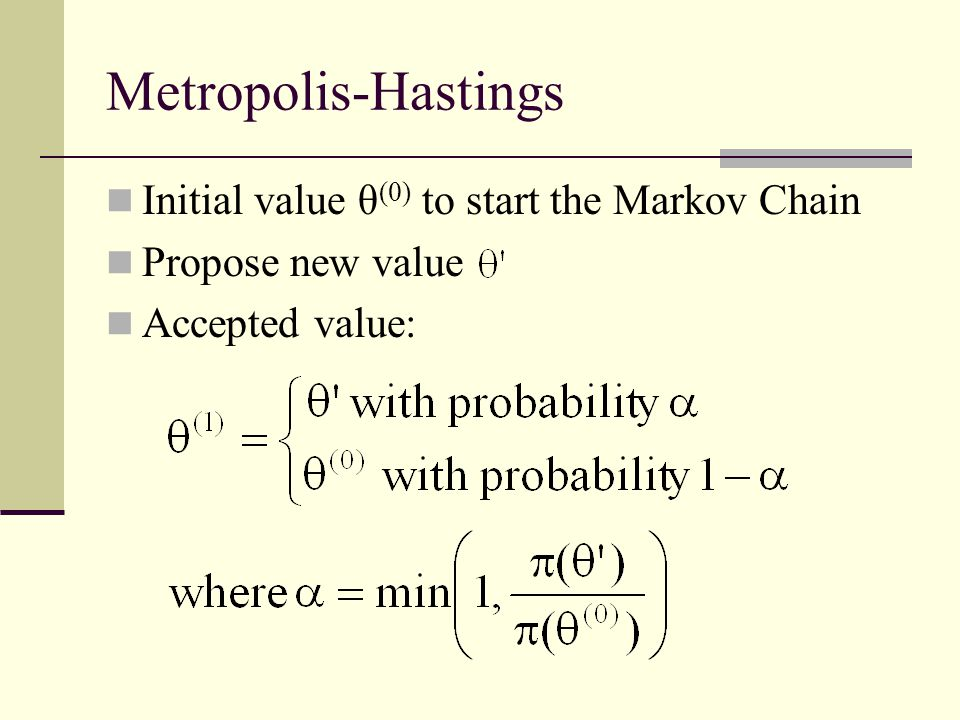 Metropolis-Hastings Initial value θ(0) to start the Markov Chain