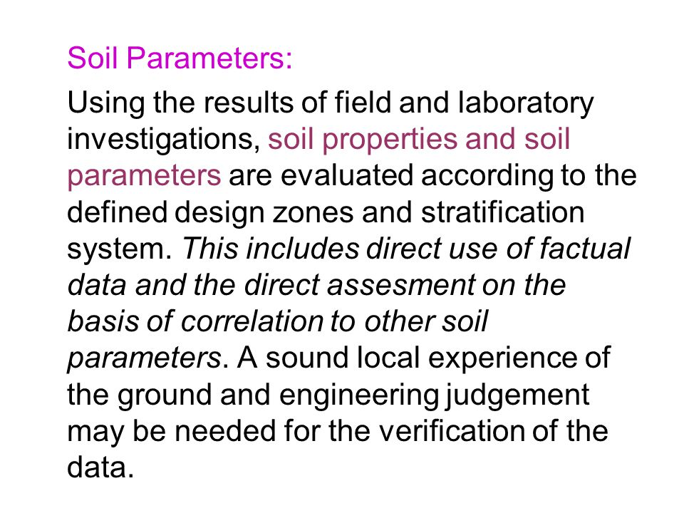 Soil Parameters: