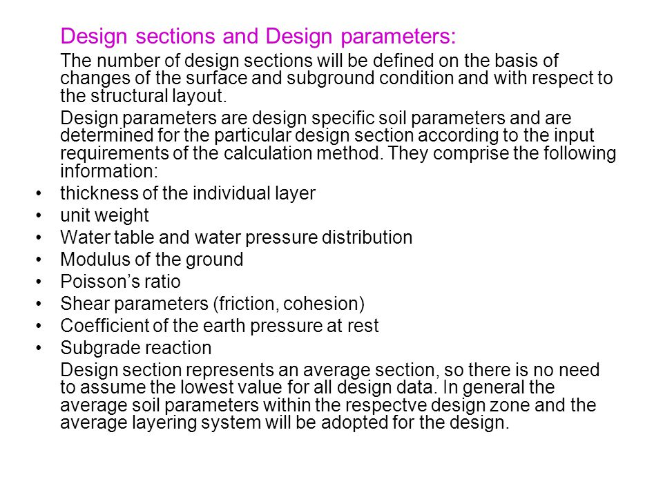 Design sections and Design parameters: