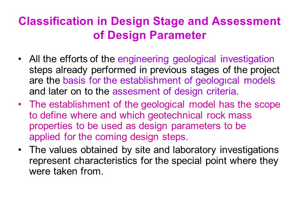 Classification in Design Stage and Assessment of Design Parameter