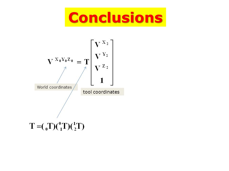 Conclusions World coordinates tool coordinates