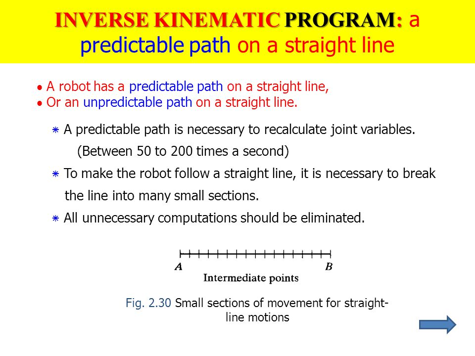 INVERSE KINEMATIC PROGRAM: a predictable path on a straight line