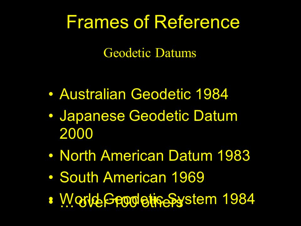 Frames of Reference Australian Geodetic 1984
