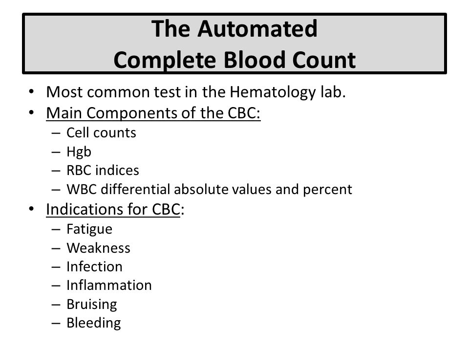 The Automated Complete Blood Count