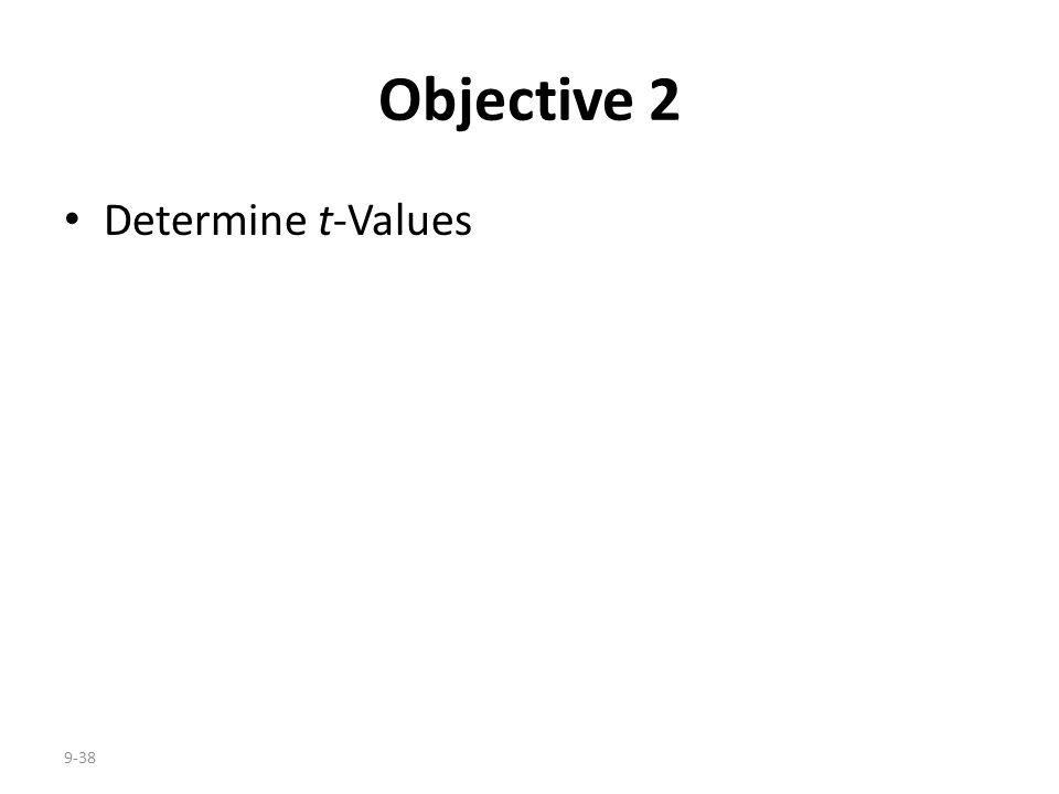Objective 2 Determine t-Values