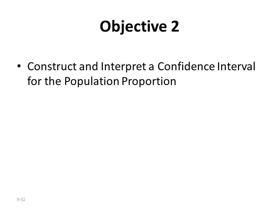 Objective 2 Construct and Interpret a Confidence Interval for the Population Proportion