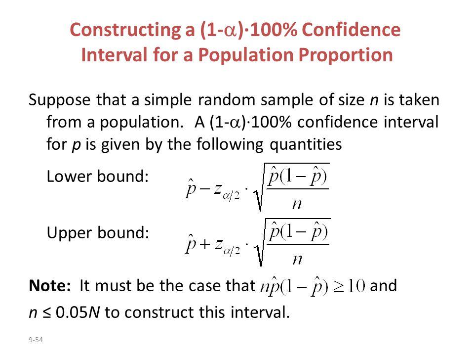 Constructing a (1-)·100% Confidence
