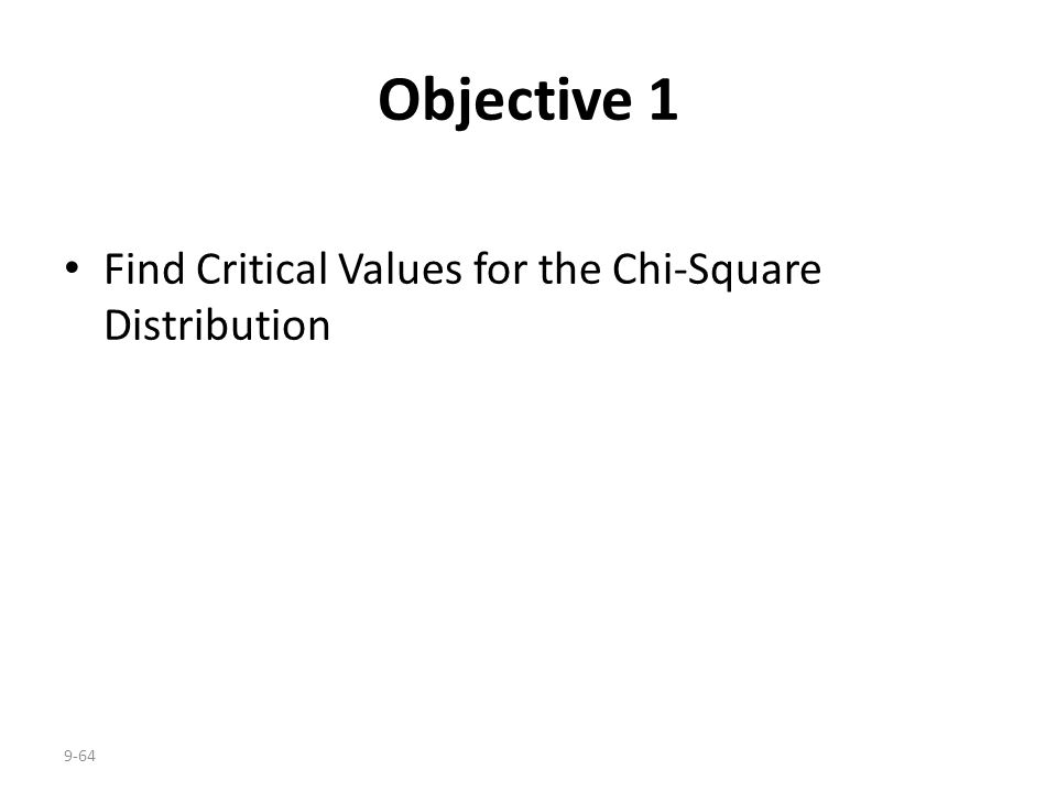 Objective 1 Find Critical Values for the Chi-Square Distribution