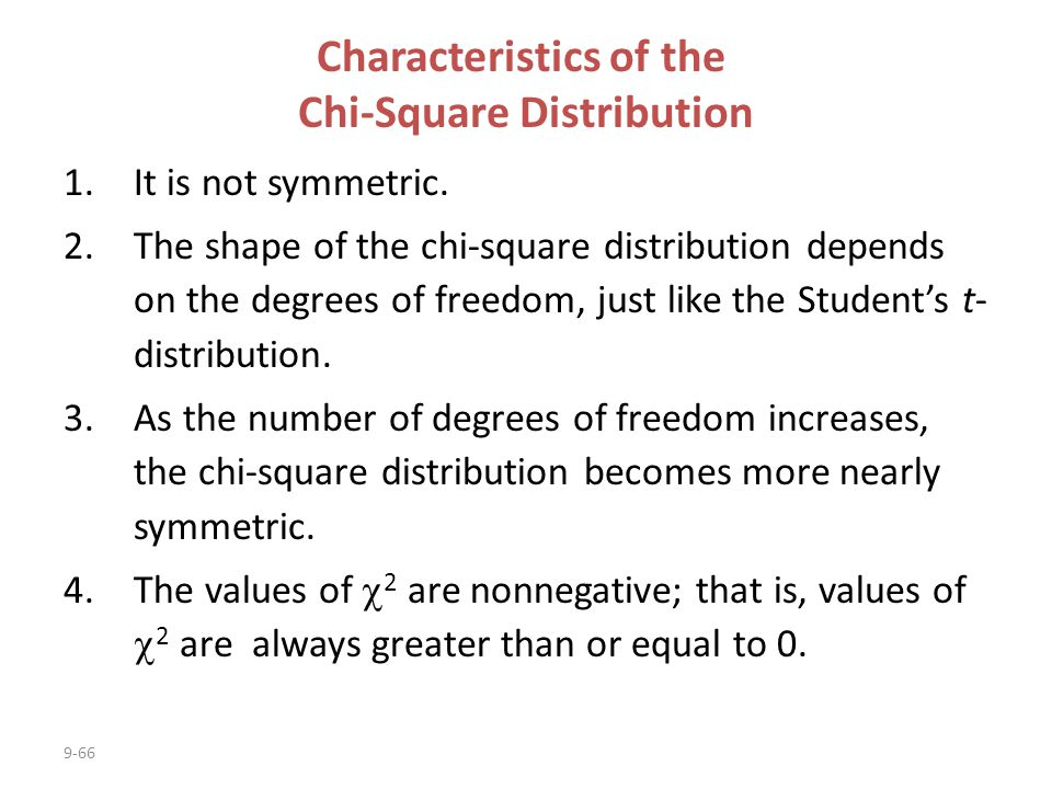Characteristics of the Chi-Square Distribution