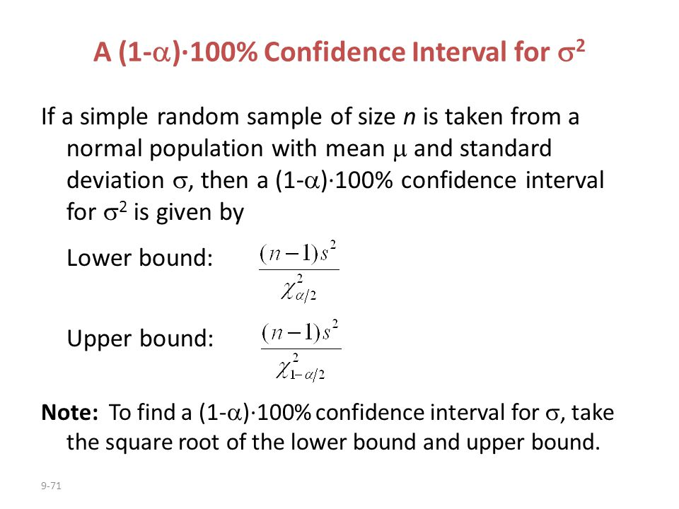 A (1-)·100% Confidence Interval for 2