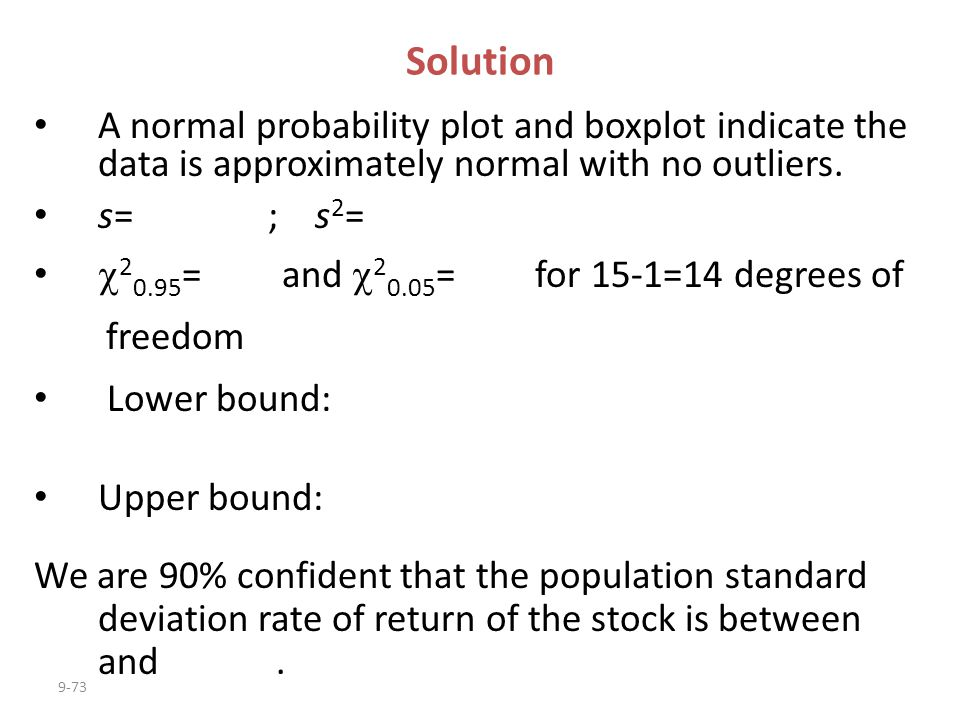 Solution A normal probability plot and boxplot indicate the data is approximately normal with no outliers.