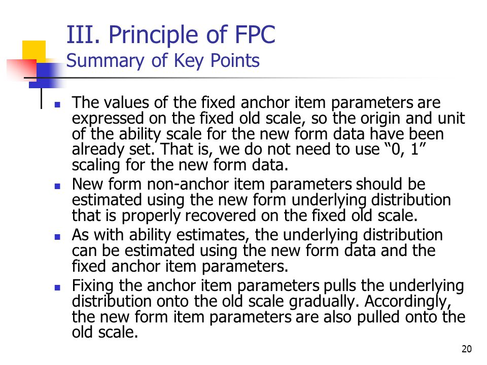 III. Principle of FPC Summary of Key Points