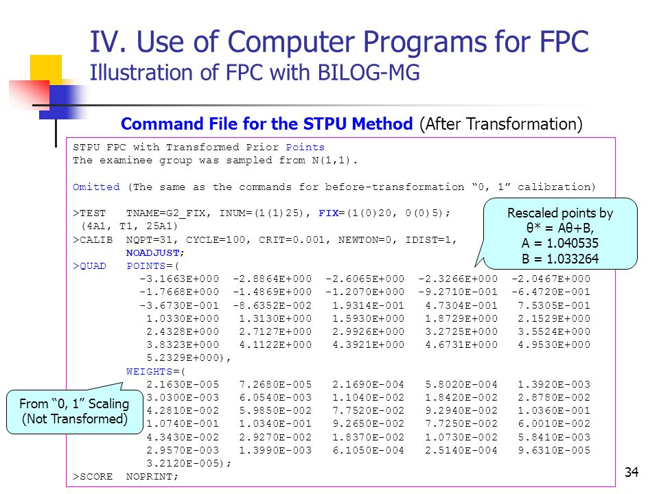 IV. Use of Computer Programs for FPC Illustration of FPC with BILOG-MG