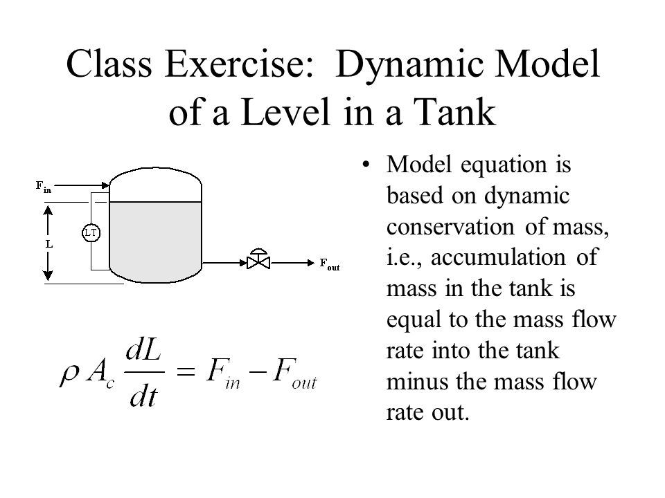 Class Exercise: Dynamic Model of a Level in a Tank