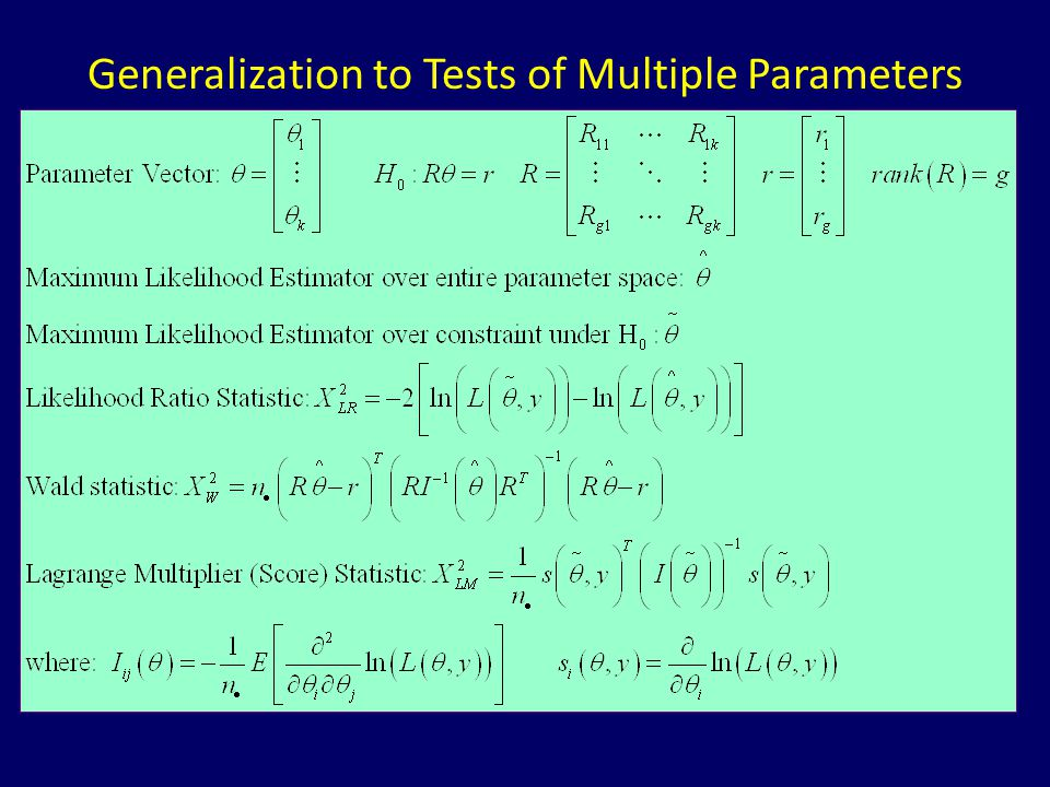 Generalization to Tests of Multiple Parameters