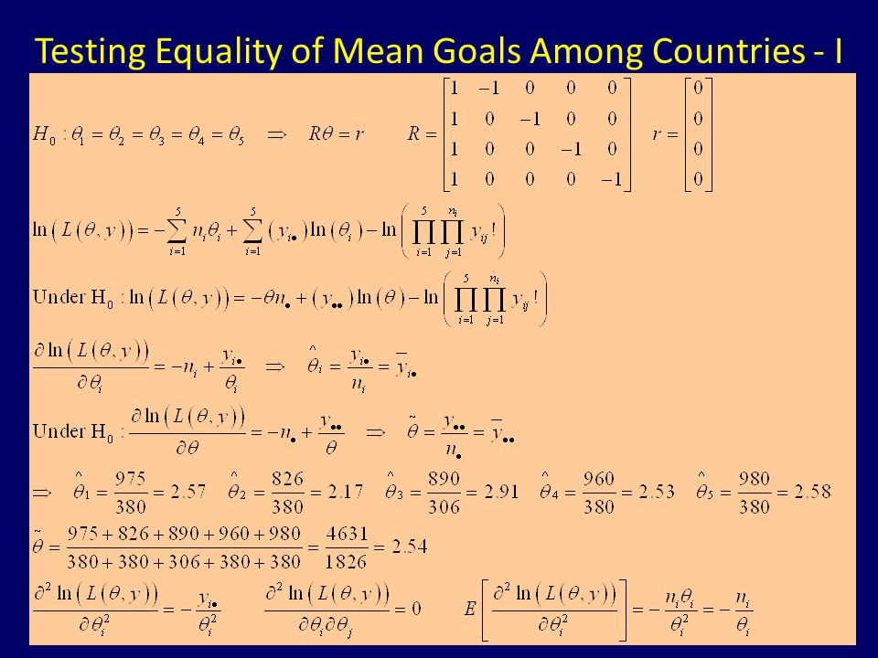 Testing Equality of Mean Goals Among Countries - I