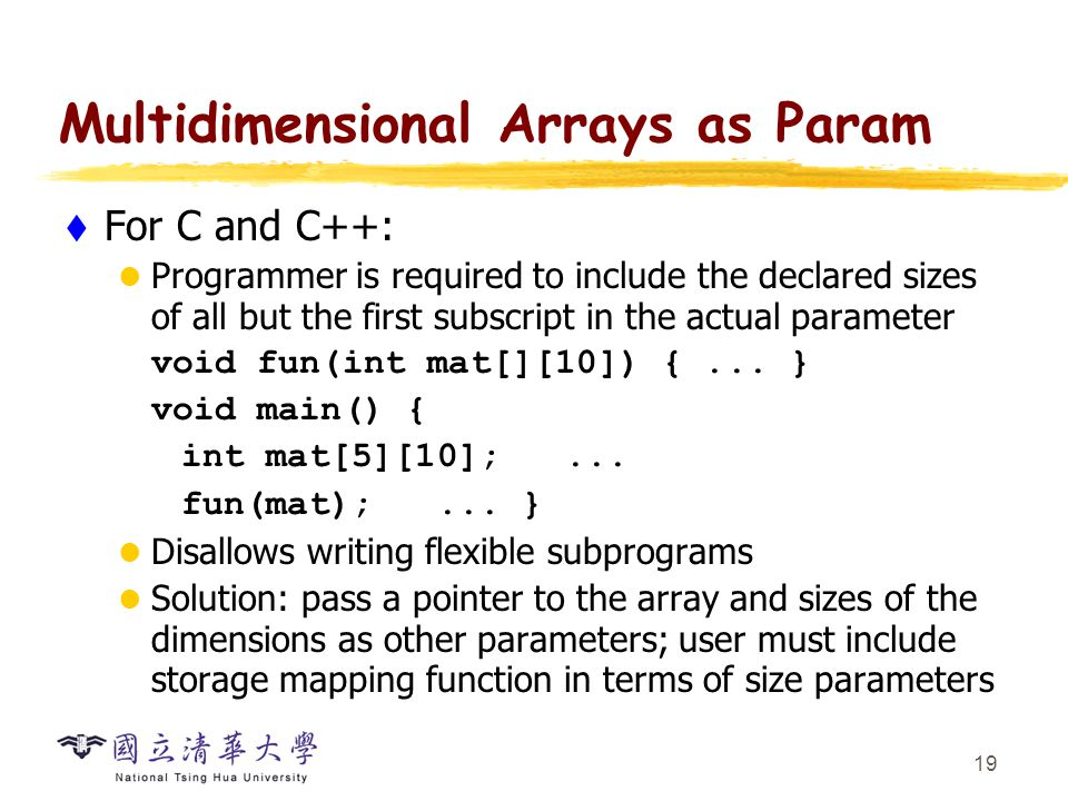 Multidimensional Arrays as Param