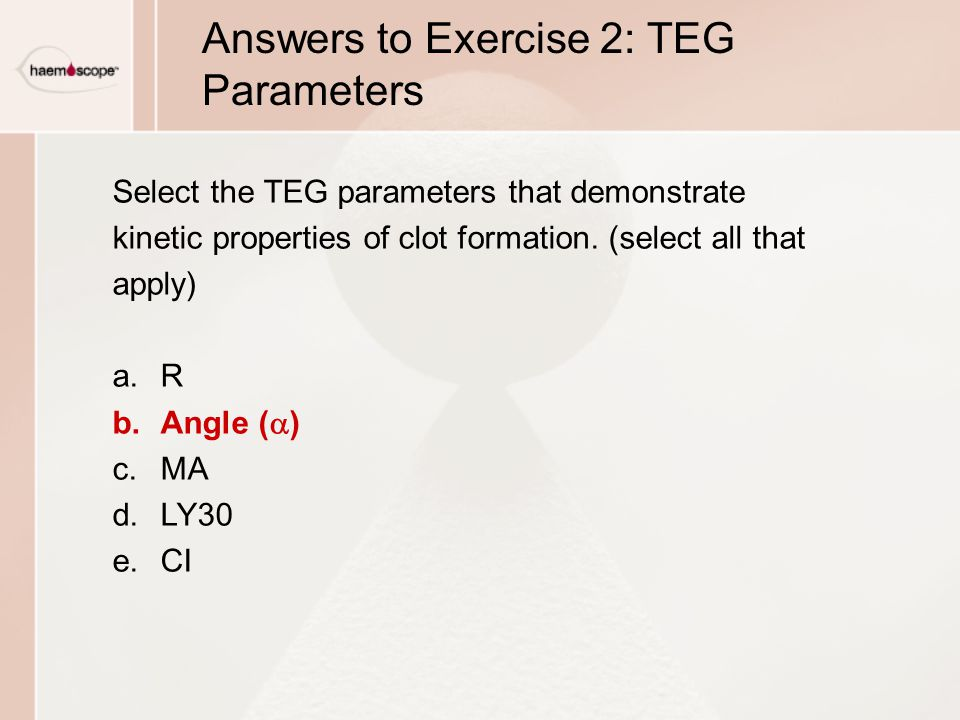 Answers to Exercise 2: TEG Parameters