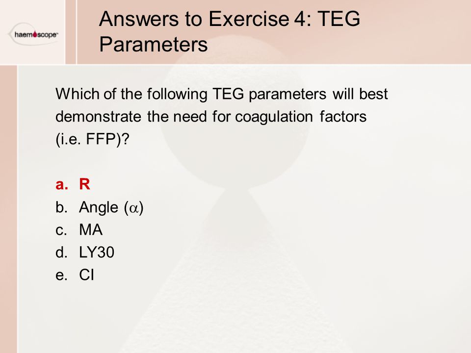 Answers to Exercise 4: TEG Parameters