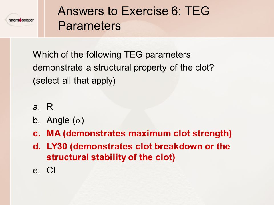 Answers to Exercise 6: TEG Parameters