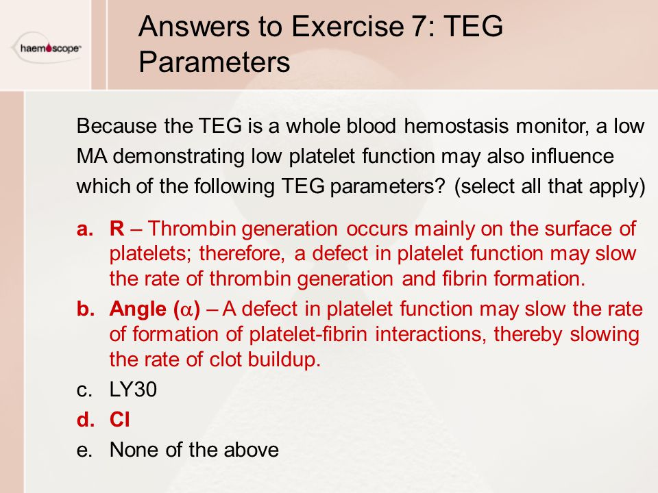 Answers to Exercise 7: TEG Parameters