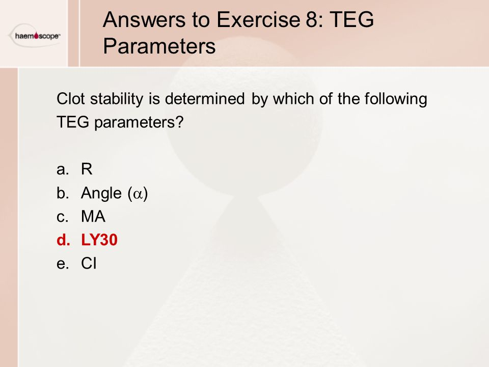 Answers to Exercise 8: TEG Parameters