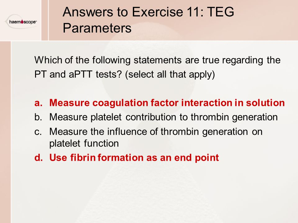 Answers to Exercise 11: TEG Parameters