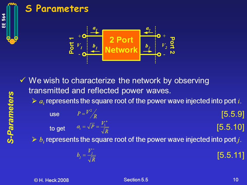 S Parameters We wish to characterize the network by observing transmitted and reflected power waves.