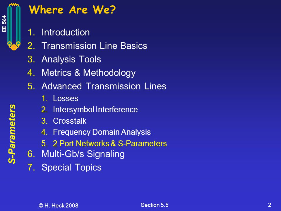 Where Are We Introduction Transmission Line Basics Analysis Tools