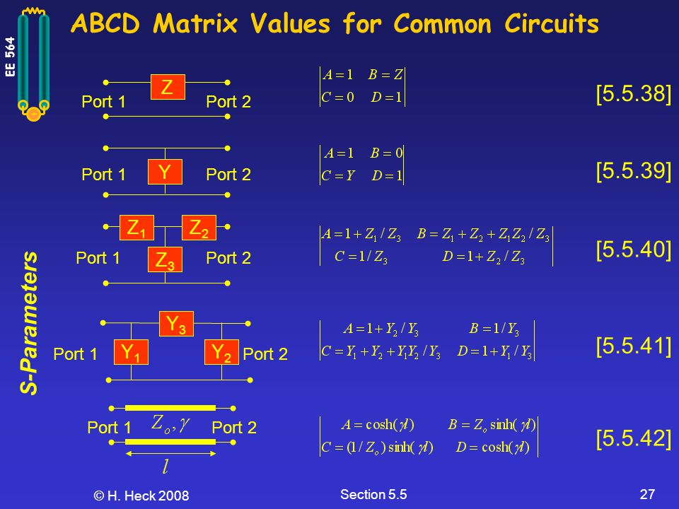 ABCD Matrix Values for Common Circuits