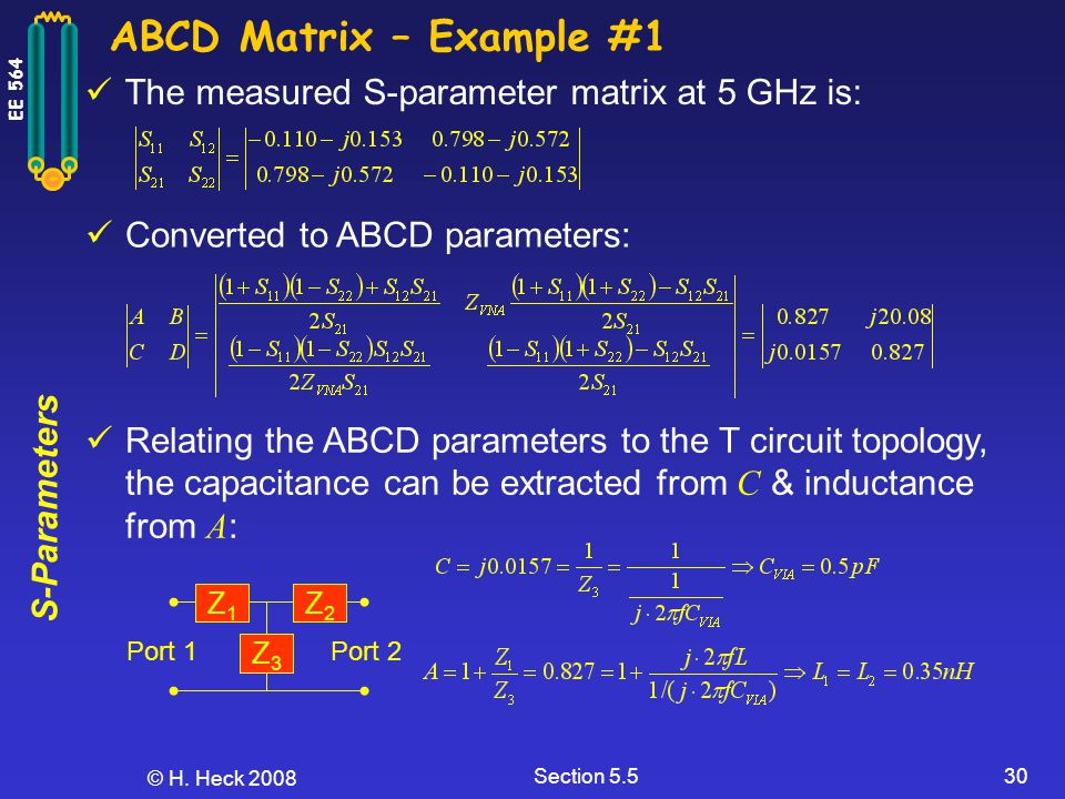 ABCD Matrix – Example #1 The measured S-parameter matrix at 5 GHz is: