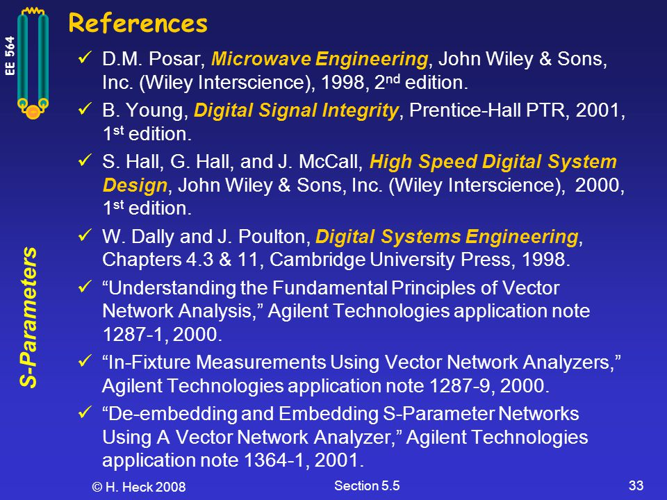 References D.M. Posar, Microwave Engineering, John Wiley & Sons, Inc. (Wiley Interscience), 1998, 2nd edition.