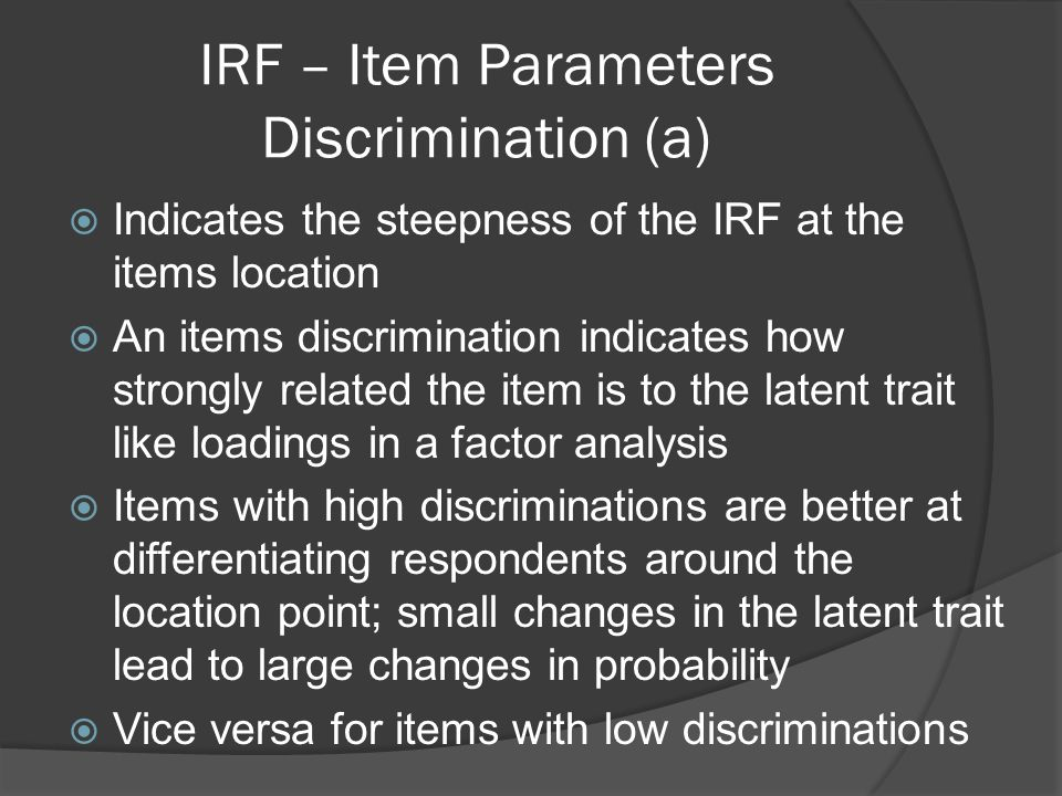 IRF – Item Parameters Discrimination (a)