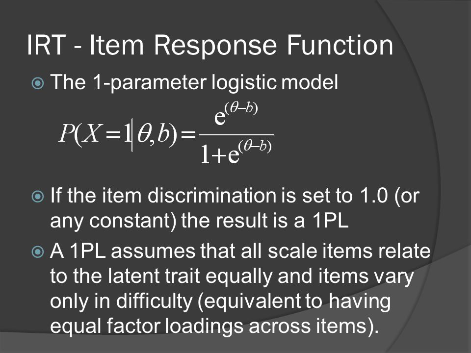 IRT - Item Response Function