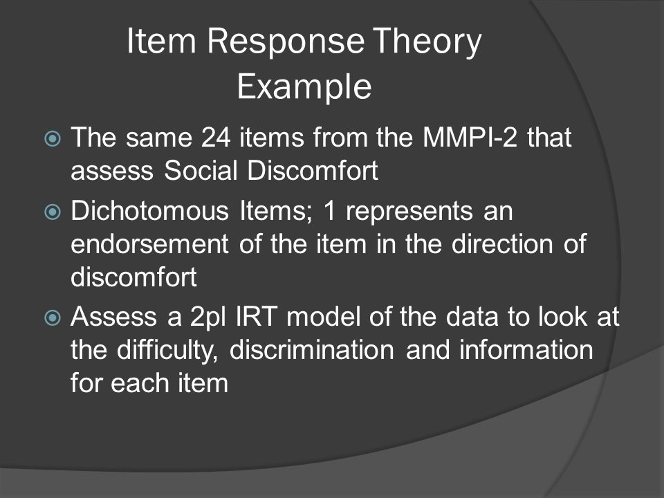 Item Response Theory Example
