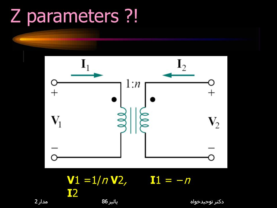 Z parameters ! V1 =1/n V2, I1 = −n I2 8,114,085