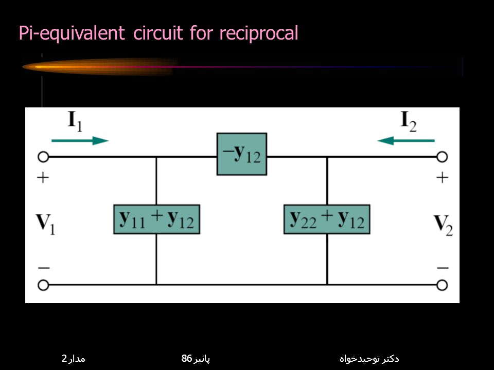 Pi-equivalent circuit for reciprocal