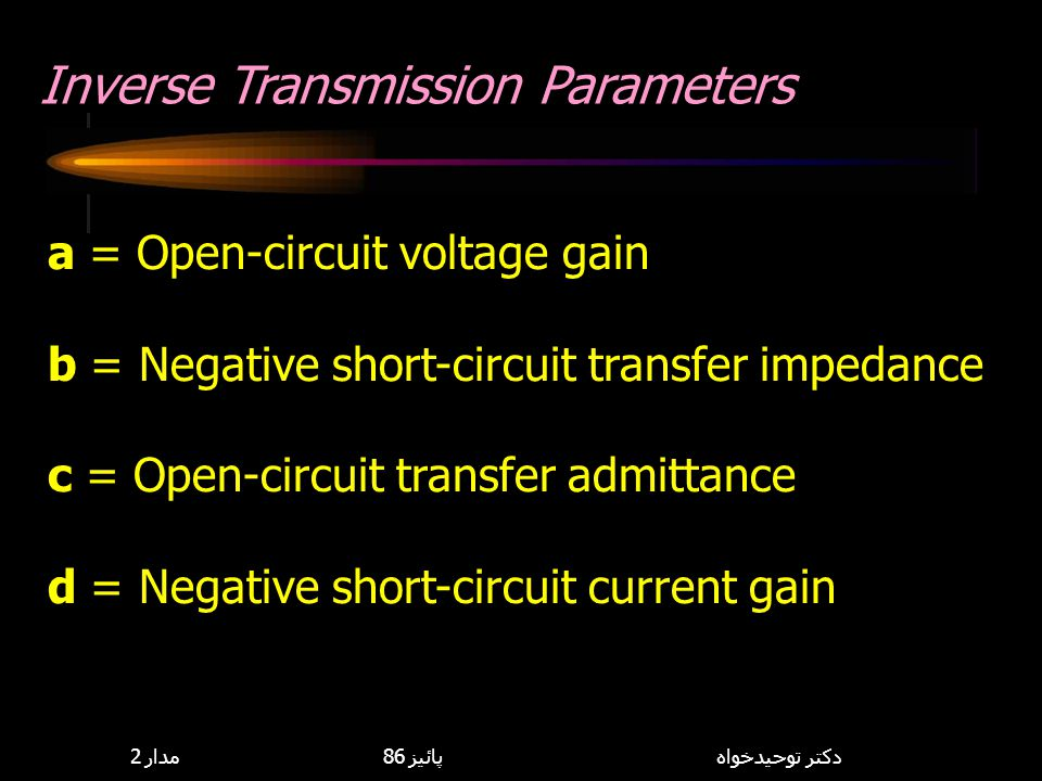 Inverse Transmission Parameters