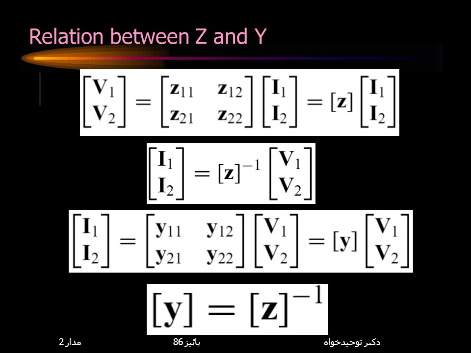 Relation between Z and Y