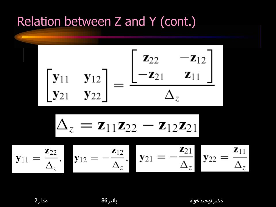Relation between Z and Y (cont.)